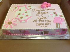 Baby shower cake. 1/2 sheet vanilla butter cake iced in vanilla buttercream with buttercream onesie,roses, pregnant woman with umbrella,flower,words, and square design on the sides