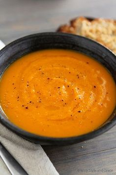 Roasted Butternut Squash, Carrot, & Ginger soup... another one to chase away the funk.