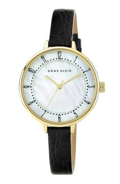 Anne Klein Round Embossed Leather Strap Watch, 36mm available at #Nordstrom