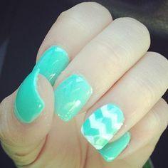 Mint Chevron Acrylic Nails