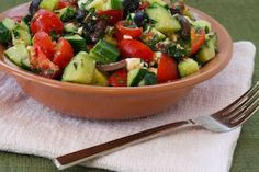 Kalyn's Kitchen®: Chopped Tomato and Cucumber Salad Recipe with Mint, Feta, Lemon, and Thyme