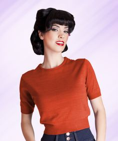 Pull Over Short Sleeve Rust   Bettie Page Clothing