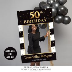 BIrthday Photo Prop Template, Printable Gold Photo Booth, Birthday Selfie Frame, Custom Photo Prop Printable, Any Age Prop DIGITAL ITEM Or photo prop modèle anniversaire imprimable Photo Booth Moms 50th Birthday, 70th Birthday Parties, 50th Birthday Ideas For Women, 50th Birthday Favors, Elegant Birthday Party, Birthday Board, Birthday Diy, Birthday Cupcakes, Happy Birthday
