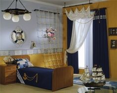 pirate bedroom decorating ideas - pirate themed furniture - nautical theme decorating ideas - pirate theme bedroom decor - Peter Pan - Jake and the Never Land Pirates - pirate ship beds - boat beds - pirate bedroom decorating ideas - pirate costumes Nautical Room Decor, Nautical Home, Nautical Curtains, Nautical Bedding, Nautical Interior, Nautical Flags, Boys Nautical Bedroom, Nautical Design, Nautical Style