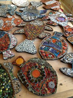Mosaic fish made by children and their families on Kamrans ward, JR Hospital. Becky Paton mosaics.