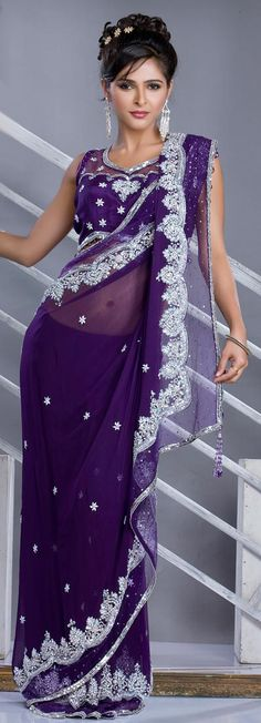 Magnificient Purple Saree IF I could I would wear this and learn how to dance with grace for my future husband:)