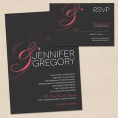 "Wedding Invitation by MalloryHopeDesign.com - Peach ""&"" Sign"