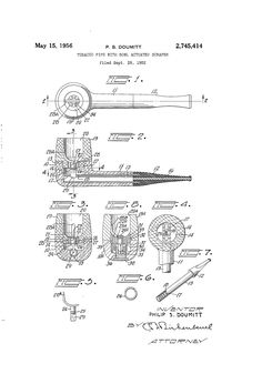 Patent US2745414 - Tobacco pipe with bowl actuated scraper - Google Patents