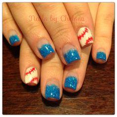 Baseball & blue neon gel nails by @Chelsea Devine