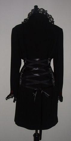 ladies long black coat  riding jacket corset coat by darkestdreams, $58.00