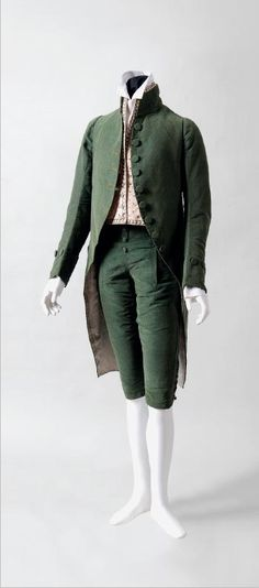 FORMAL SUIT OF UNCUT VOIDED SILK VELVET  WITH EMBROIDERED SILK WAISTCOAT.  Probably French, ca. 1790–1800.