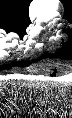 """Death in a Field"" woodcut by Mike Lawrence. http://www.threeredheadstudios.com/ Tags: Linocut, Cut, Print, Linoleum, Lino, Carving, Block, Woodcut, Helen Elstone, Fields. Clouds, Sky, Moon, Night."