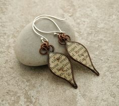 Wire tear drop book text resin earrings. by DragonflyDreamers,