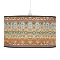 "Title : 203 Tribal, Native American, Brown Beige Blue Prin Pendant Lamp  Description : Words to describe Tribal; ""Native-American's, Indian, Tribes, ""Tribal-Prints"", ""Geometric-Patterns"", ""Miscellaneous-Shapes"", Diamonds, Squares, Arrows, ""Repetitive-Patterns"", ""Fabric-Weaving"", Tapestry, Beads, ""Animal-Bones"", ""Ethnic-Tribes"", Cultural, Cultures, ""Southwest-Patterns"", ""Animal-Pattern-Prints"", ""Ethnic-Prints"", Ganado, ""Native-Traditional-Patterns"", Ikat, ""Navajo-Art"", Weaving…"