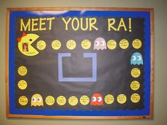 Pac-Man Meet your RA Resident Assistant Bulletin board College Bulletin Boards, Interactive Bulletin Boards, Ra Bulletins, Ra Boards, Residence Life, Resident Assistant, Pokemon, Game Themes, Dorm Themes