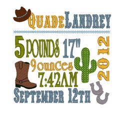 Baby Boy/Girl Birth Announcement Word Art Machine Embroidery Design In Cowboy WesternTheme. $6.99, via Etsy.