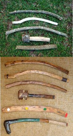Home made throwing sticks, one of mankinds oldest hunting tools. Effective for small game, ie., rabbits, ratcoon, armadillo...The top 4 rough sticks in the top picture are the same as the top 4 finished throwing sticks in the bottom picture.