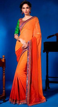 Contemporary Orange Faux Georgette Party Wear Saree - IG331078USD $ 91.42