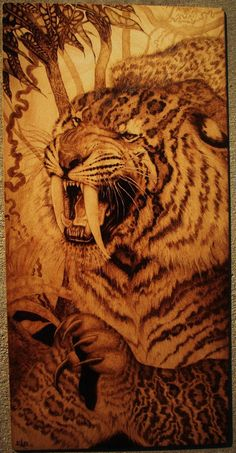 Norway pyrography | Subject: African Leopard drinking from a water hole.