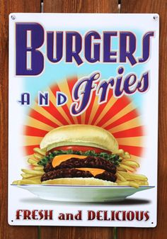 Retro hamburger signs just like you would find in a 1950 diner or burger joint. Decorate a kitchen or game room with old fashioned hamburger & fry signs. 1950 Diner, Retro Diner, Burger Bar, Burger And Fries, Pepsi, Coca Cola, Burger Images, Diner Sign, Diner Decor