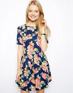 ASOS Skater Dress In Floral Print