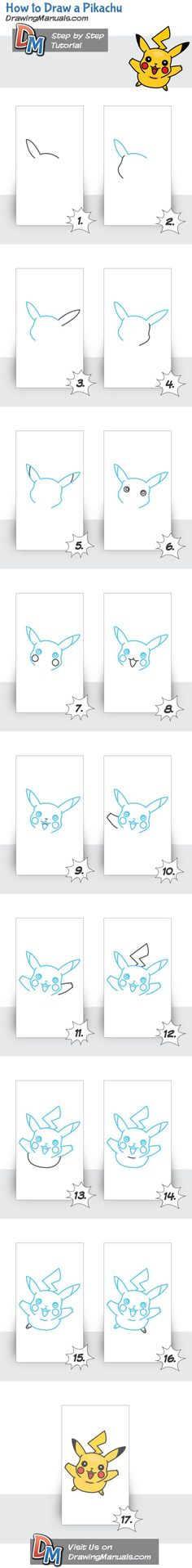 How to Draw Pikachu http://drawingmanuals.com/manual/how-to-draw-a-pikachu/ #drawing #tutorials #: