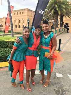 Turquoise and Red Shweshwe Dresses African Attire, African Wear, African Women, African Dress, African Fashion Traditional, Traditional Dresses, Traditional Wedding, African Print Fashion, African Fashion Dresses