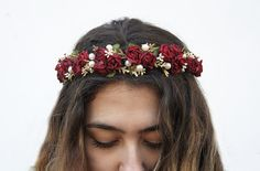 Burgundy Red Rose and Pearl Flower Crown Prom by BloomDesignStudio