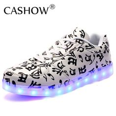 quality design 84ce9 684d7 CASHOW 2016 Big Size 35-46 superstar Musical Note Glowing Shoes Tone Led  Shoes For Adult Women Luminous Light up Chaussure Homme