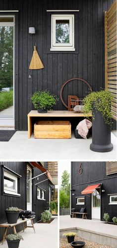 Designer Maria Westerlund's Home Exterior Colors, Exterior Paint, Exterior Design, Mobile Home Exteriors, House Exteriors, Black House Exterior, Exterior Houses, Charcoal House, Brick Texture