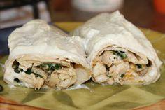 Jenn's Random Scraps: Cheesy Chicken Spinach Enchiladas in Jalapeño Cream Sauce