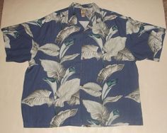Tommy Bahama Hawaiian Shirt XXL 2XL Pure Silk Casual Wooden Button Floral  #TommyBahama #Hawaiian #forsale