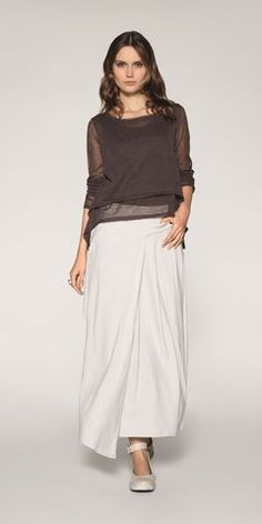 Milk color assymmetric skirt and chocolate brown mesh double layer pullover  by Belgian fashion designer Sarah Pacini