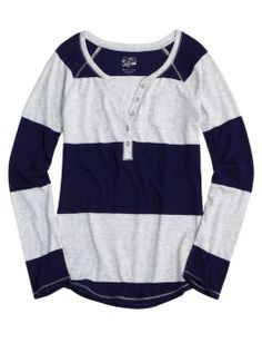 Striped Henley | Girls Sweaters Clothes | Shop Justice (14 or 16) http://www.shopjustice.com/girls-clothing/striped-henley/9196666/602