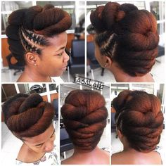 We threw in a bit of everything. Stitch braids, rolls, twist and tuck. - We threw in a bit of everything. Stitch braids, rolls, twist and tuck…all for the love of a head - Natural Hair Wedding, Pelo Natural, Natural Hair Updo, Natural Hairstyles, African Braids Hairstyles, Twist Hairstyles, Hairstyles 2016, Trendy Hairstyles, Stitch Braids