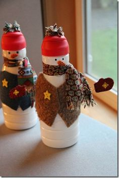 "Creamer Snowman Tutorial - Materials: Empty 32 ounce liquid creamer bottle,  5"" by 1-1/2"" flannel or cotton,  18"" by 1-1/2"" flannel or cotton,  12""x4"" felt,  8""x1-1/2"" felt,  18"" of wire,  embellishments - buttons, felt scraps, etc. (8.24.13)"