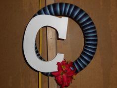 """Blue Yarn """"C"""" wreath"""