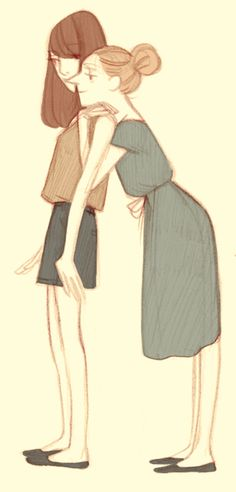 cute mother and daughter illustration Ilustração de família Desenhos Abraços