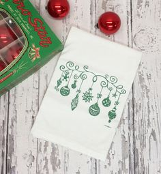 Vintage Ornaments Tea Towel  Metallic Green   Flour by GreenBeeKC