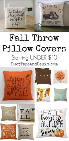 Fall throw pillow covers starting under $10 | http://DuctTapeAndDenim.com
