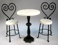J. Getzan Dollhouse Miniatures Wrought Iron Tables,Dollhouse,bistro tables,Dessert tables