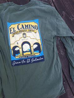 El Camino Fresh Roasted Coffee || KEN YOUNG CO || shirt design, tshirt design ideas, inspiration, product shirts, promotional shirts, product promotion apparel, promotional apparel, grown in El Salvador, coffee beans, sold in Douglas Georgia, America