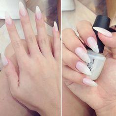 nude/white stiletto nails, I love the color
