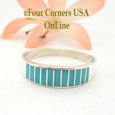 Turquoise Channel Inlay Navajo Wedding Band Ring Size 14 WB-1603 Four Corners USA OnLine Native American Silver Jewelry Wide Wedding Bands, Wedding Band Styles, Engagement Wedding Ring Sets, Navajo Wedding, Four Corners Usa, Commitment Rings, Handmade Wedding Rings, Alternative Wedding Rings, Native American Rings