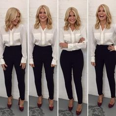 This Morning host Holly Willoughby is known for her figure-hugging pencil skirts and elegant fashion. Take a look at her best outfits from the show. Fashion 2018, Work Fashion, Trendy Fashion, Fashion Outfits, Fashion Shirts, Womens Fashion, Classy Fashion, Holly Willoughby Style, Holly Willoughby Outfits