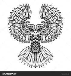 Vector Ornamental Owl Ethnic Zentangled Mascot Amulet Mask Of Bird Patterned Animal For Adult Anti Stress Coloring Pages Hand Drawn Totem Illustration