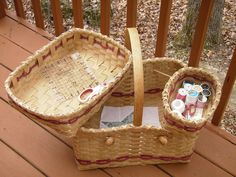 Hand Woven Quilters / Weavers Basket via Etsy.