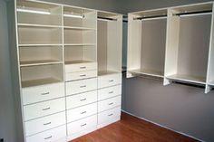 small walk in closet organization | Walk-in Closet - White Finish