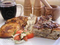 Hubník 7 rožkov 7 vajec ml mlieka 1 cibuľa slanina prerastená hríby… Russian Recipes, Meat Recipes, Stuffed Mushrooms, Turkey, Beef, Meals, Chicken, Digital Camera, Basket