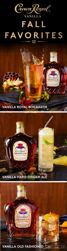 Celebrate the winter season with one of these delicious Crown Royal cocktails featuring Crown Royal Vanilla. Mix this versatile blend in your favorite hard soda recipe, paired with your favorite beer, or serve it in a classic old fashioned cocktail for yo Fall Drinks, Holiday Drinks, Party Drinks, Cocktail Drinks, Mixed Drinks, Cocktail Recipes, Alcoholic Drinks, Liquor Drinks, Bourbon Drinks